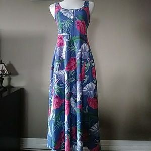 CHAPS Denim Tropical Print Maxi Dress
